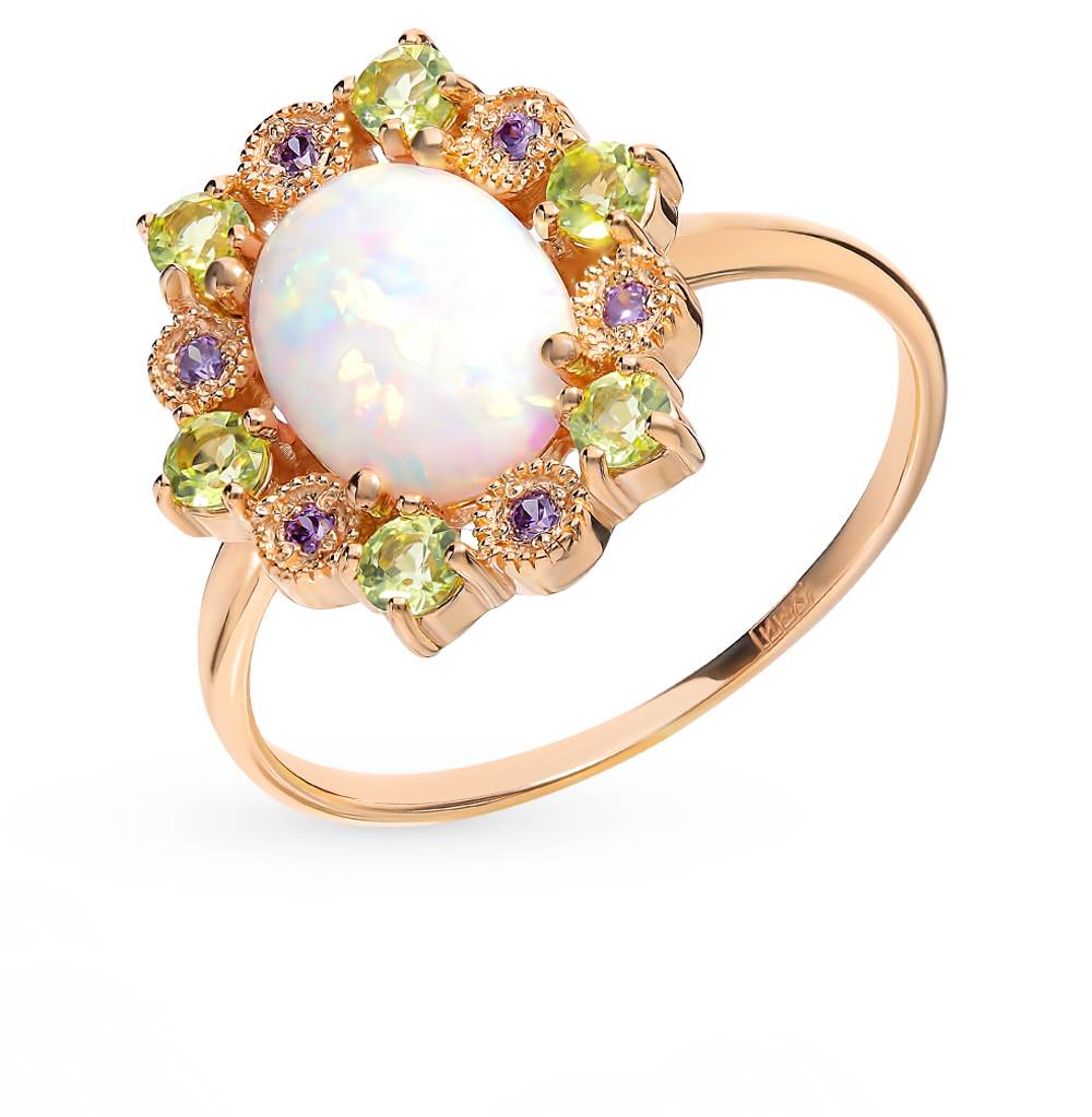Золотое кольцо с хризолитами, фианитами и опалом в Санкт-Петербурге