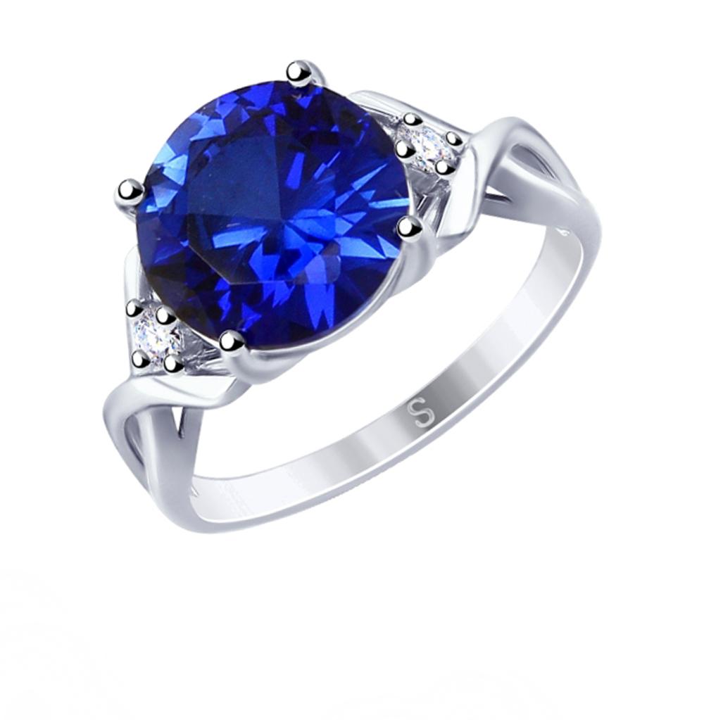Фото «Серебряное кольцо с корундом и фианитами SOKOLOV 88010053»