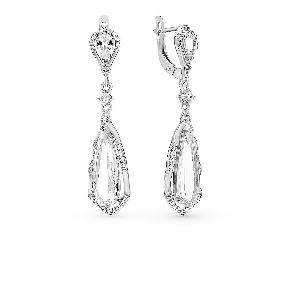 серебряные серьги с горным хрусталем и фианитами SOKOLOV 92021520
