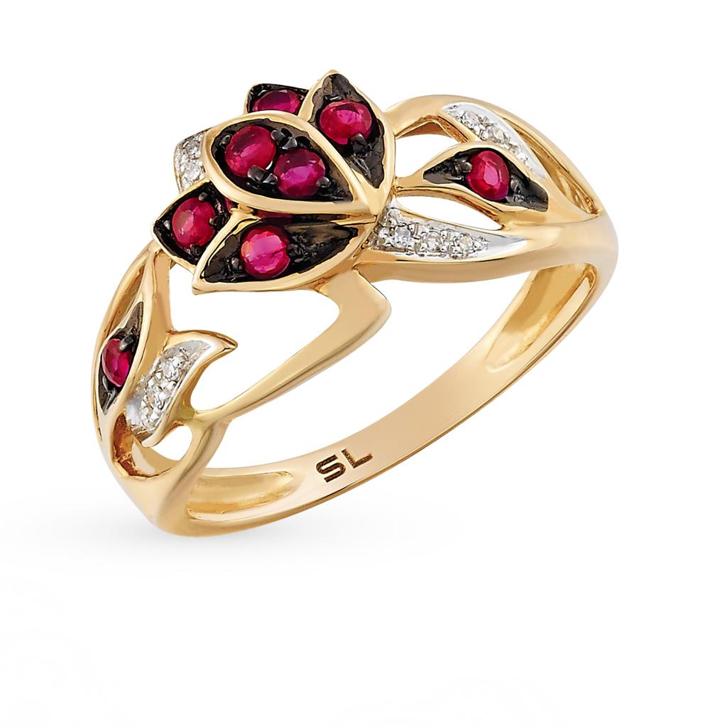 Золотое кольцо с рубинами и бриллиантами в Екатеринбурге