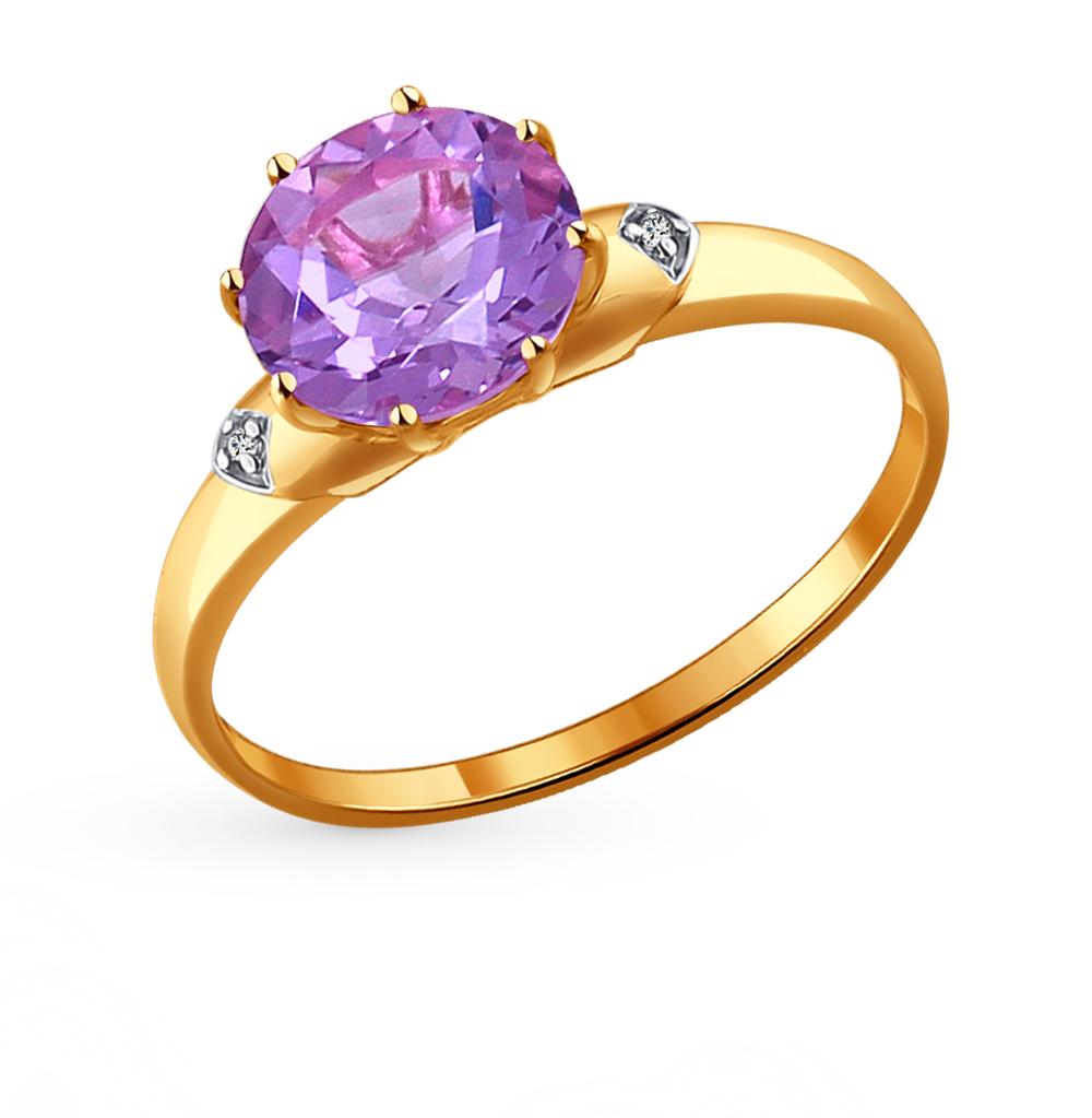 золотое кольцо с аметистом и фианитами SOKOLOV 714006*