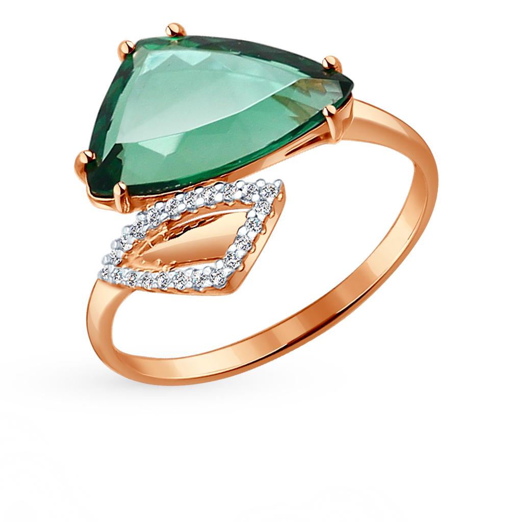 Золотое кольцо с кварцем и фианитами SOKOLOV 714114* в Санкт-Петербурге
