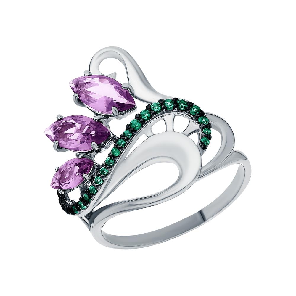 Серебряное кольцо с фианитами и аметистами синтетическими в Екатеринбурге