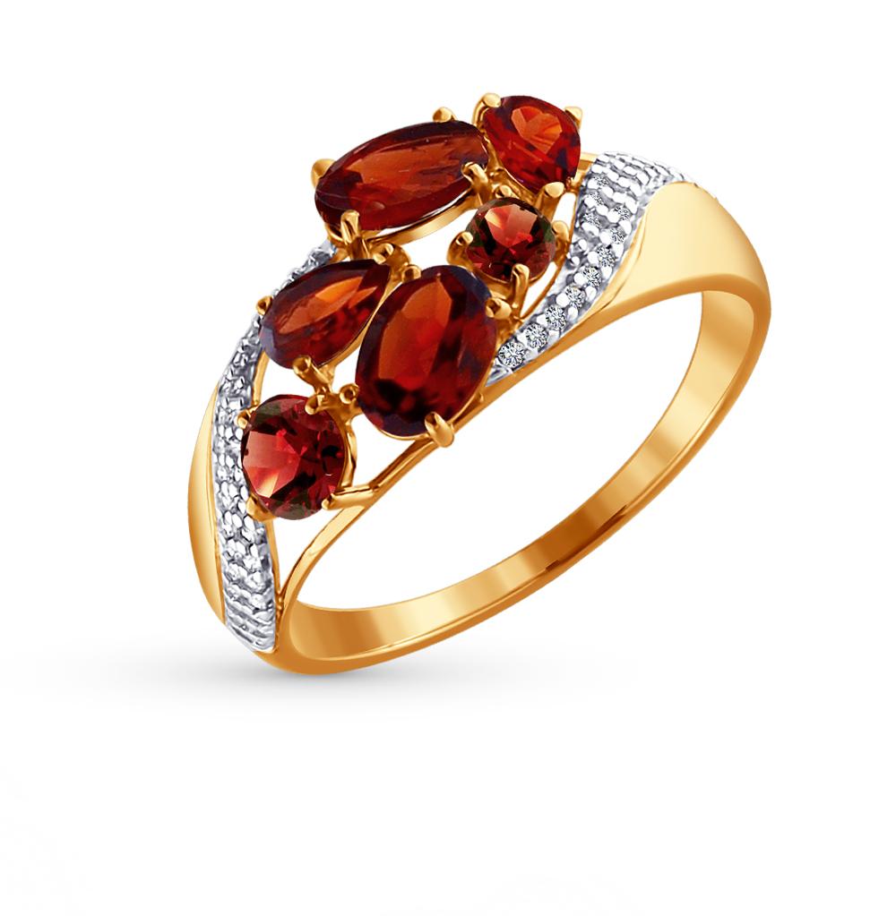 Фото «Золотое кольцо с фианитами и гранатом SOKOLOV 713700»