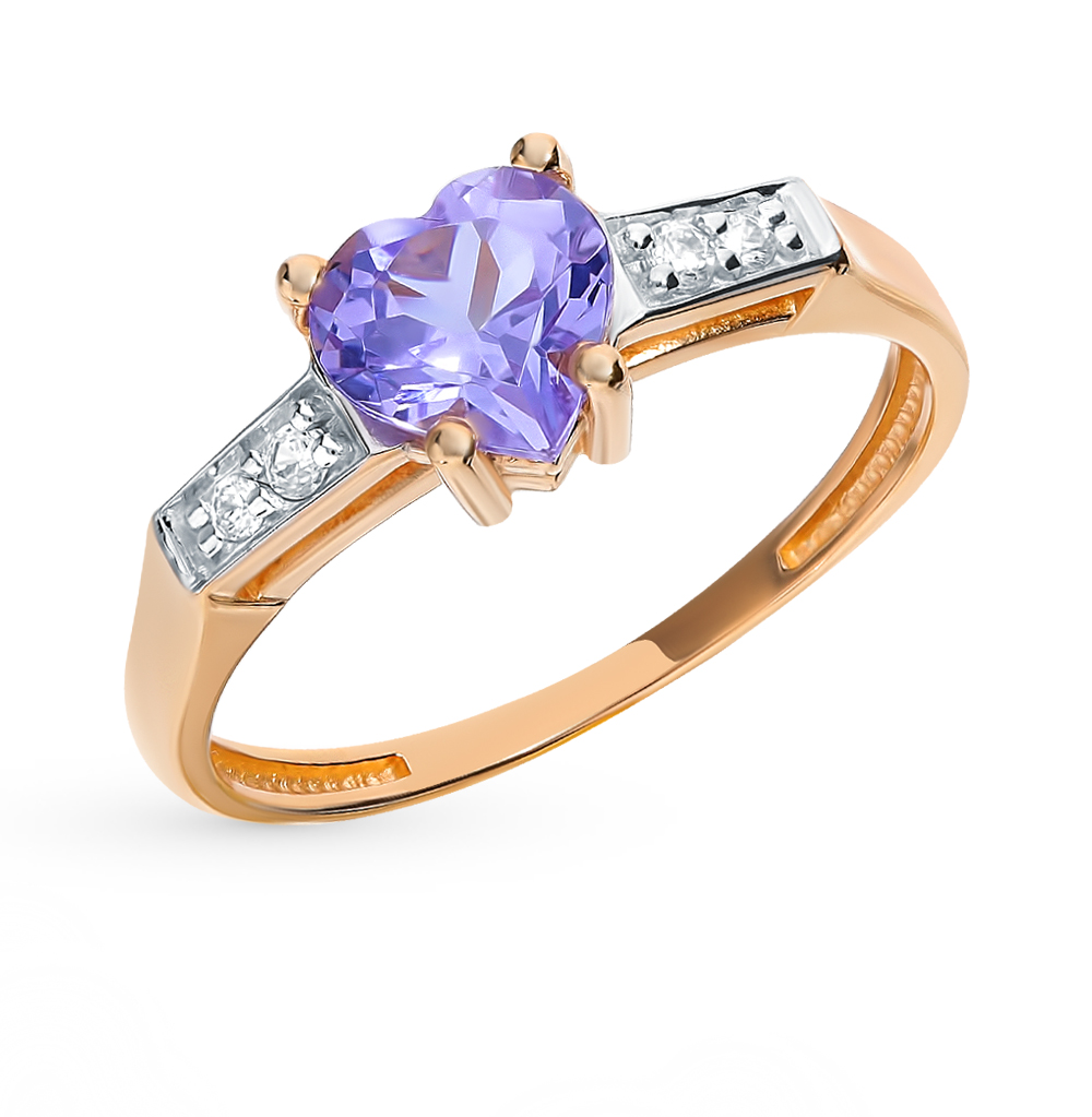 Золотое кольцо с наноситалом (хамелеон) и фианитами