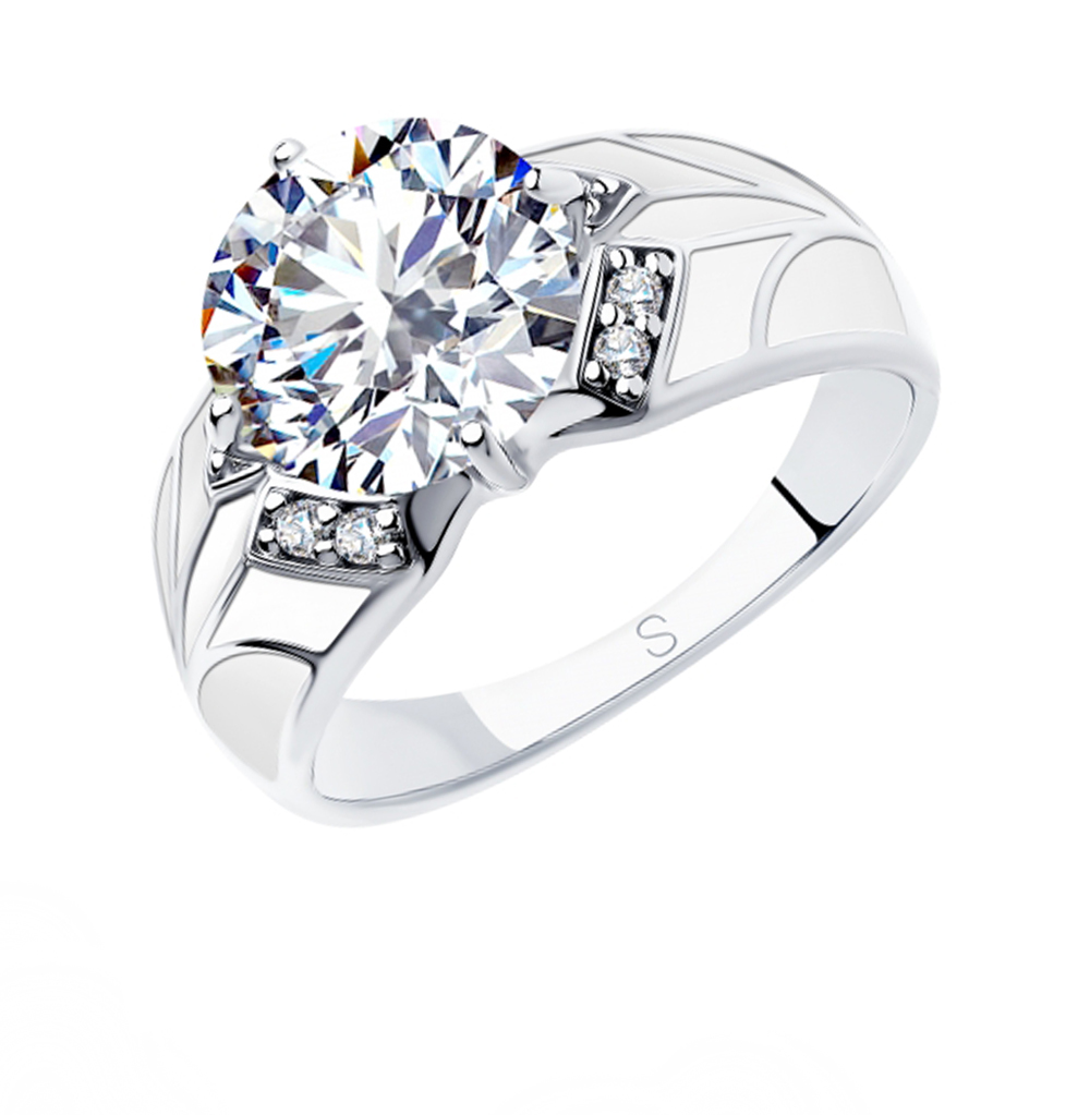 серебряное кольцо с фианитами и эмалью SOKOLOV 94012926
