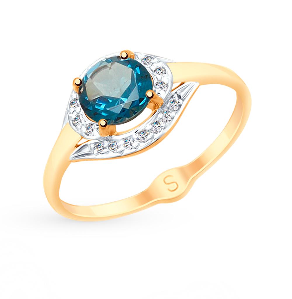 Фото «Золотое кольцо с топазами и фианитами SOKOLOV 715066»