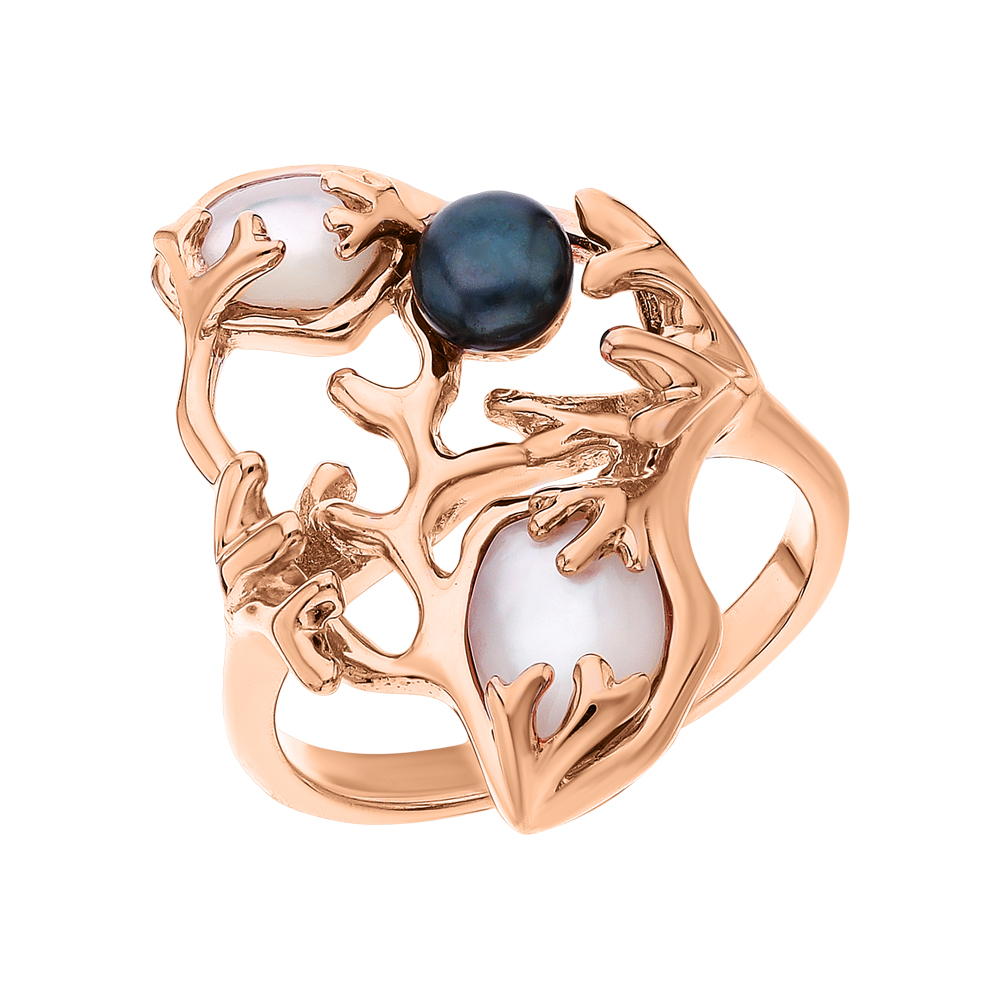 Фото «Серебряное кольцо с перламутром и жемчугом культивированным»