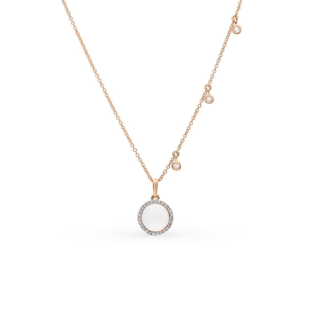 Фото «Золотое шейное украшение с кварцем и бриллиантами»