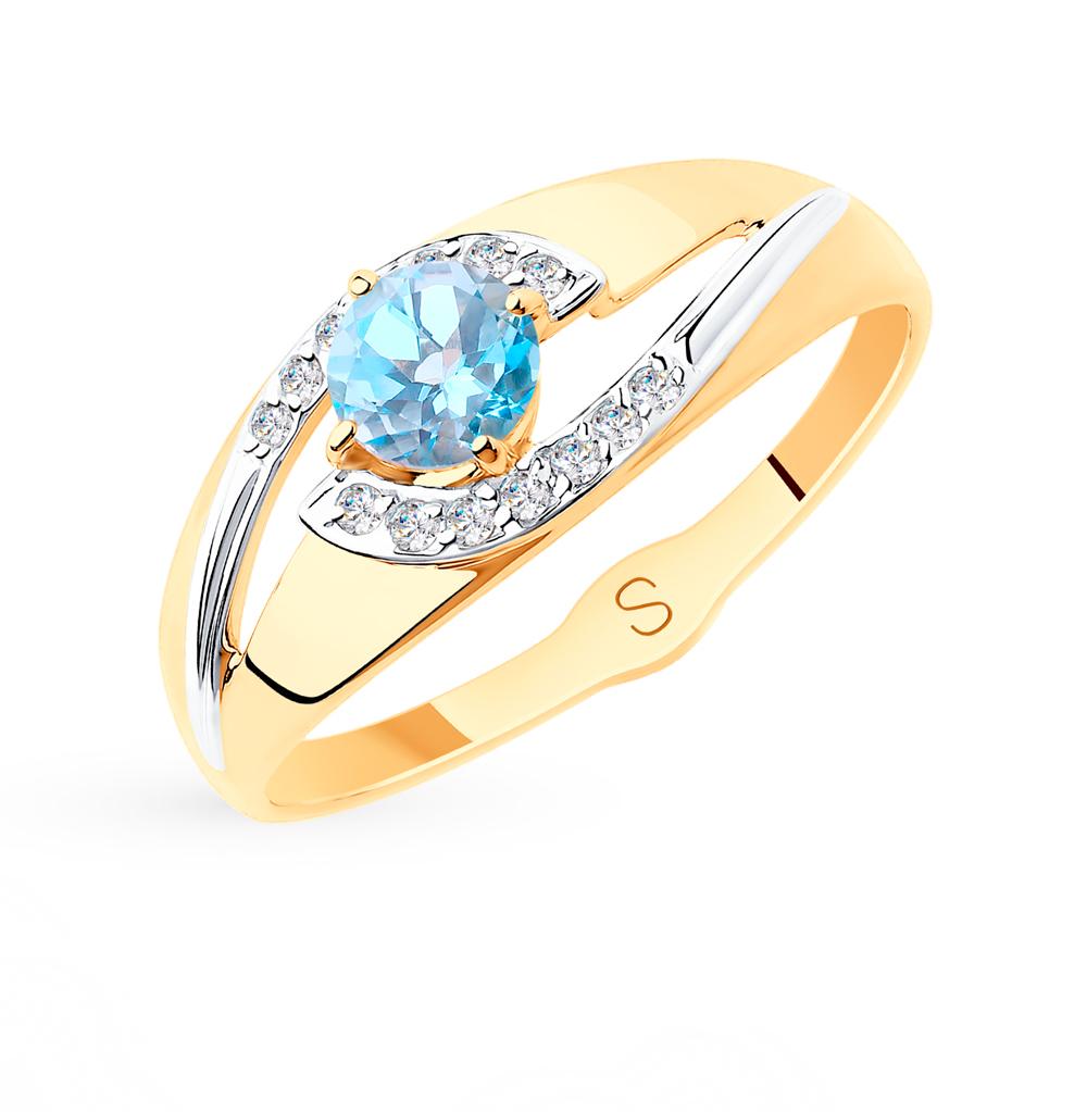 золотое кольцо с топазами и фианитами SOKOLOV 715564*