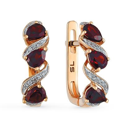 Фото «золотые серьги с гранатом и бриллиантами»