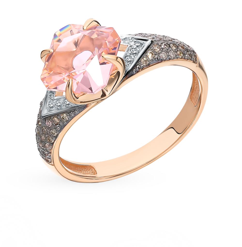 Золотое кольцо с бриллиантами и морганитом