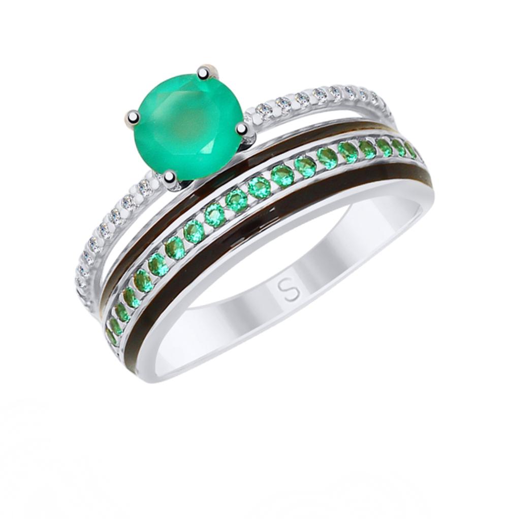 Фото «Серебряное кольцо с фианитами, агатом и эмалью SOKOLOV 92011619»