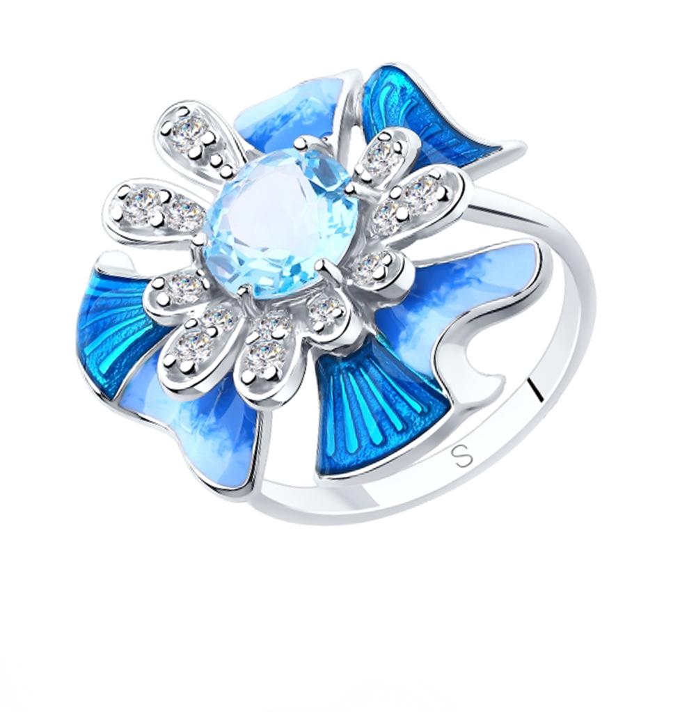 серебряное кольцо с топазами, фианитами и эмалью SOKOLOV 92011883