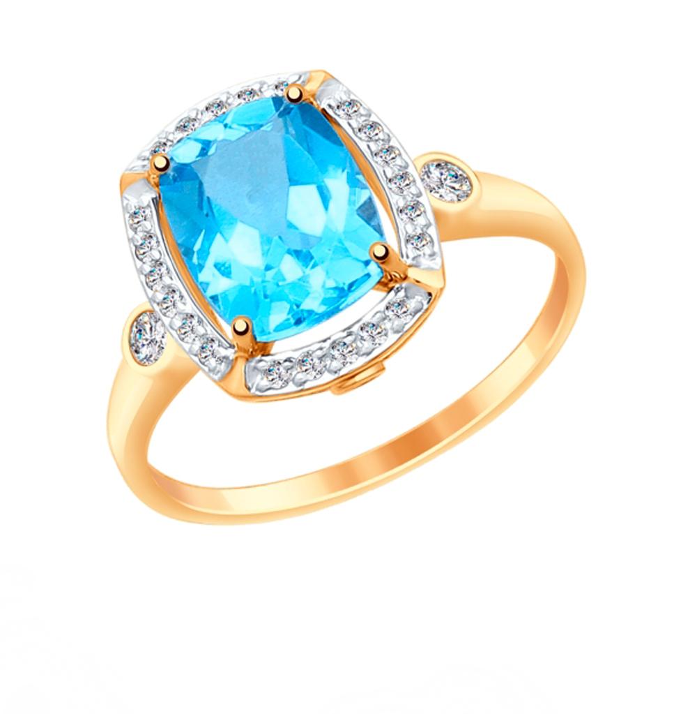 Золотое кольцо с топазом и фианитами SOKOLOV 714983*