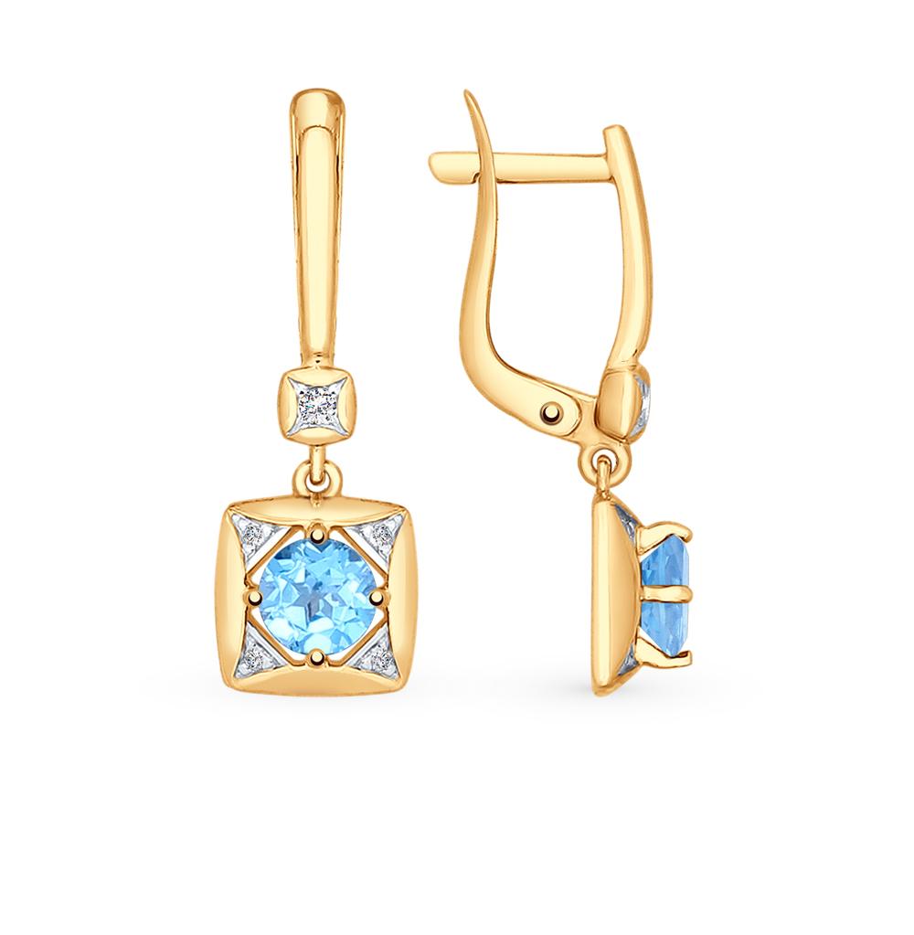 Фото «Золотые серьги с топазами и фианитами SOKOLOV 725205*»