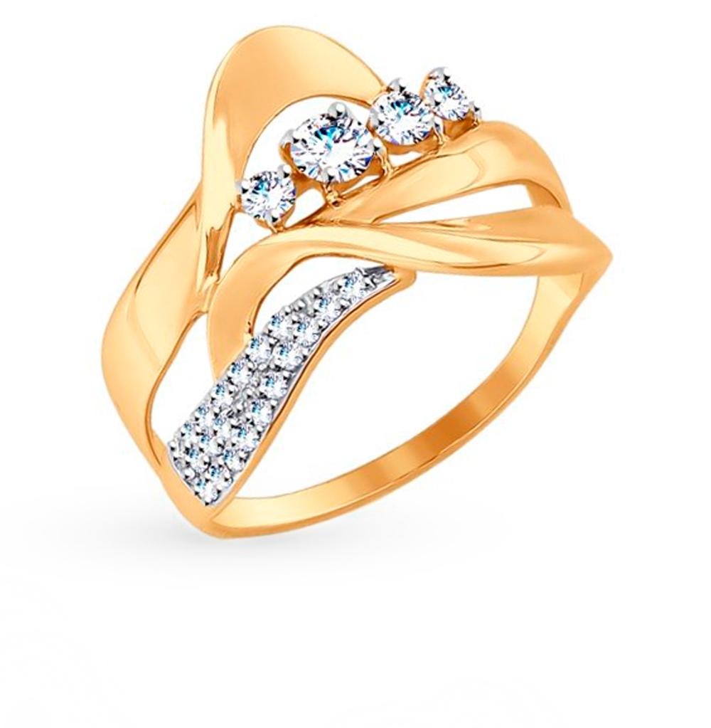 золотое кольцо с фианитами SOKOLOV 017510