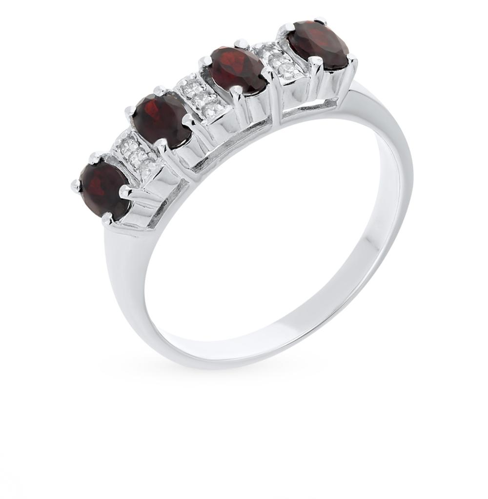 Фото «кольцо с гранатом и фианитами»