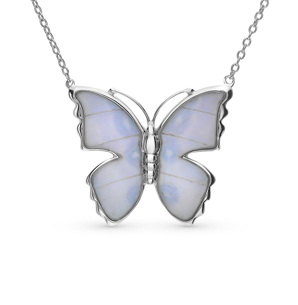 Серебряное шейное украшение с эмалью и крыльями бабочками в Екатеринбурге