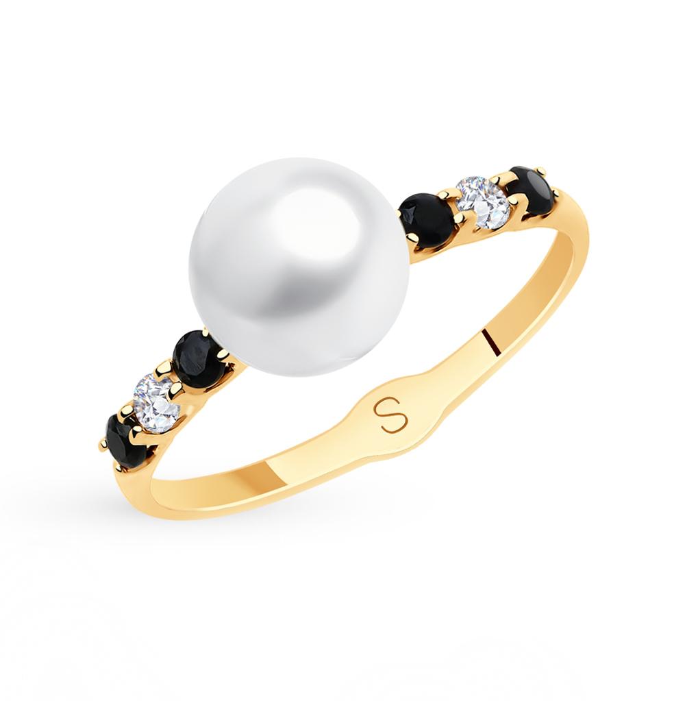золотое кольцо с фианитами и жемчугом SOKOLOV 791156*