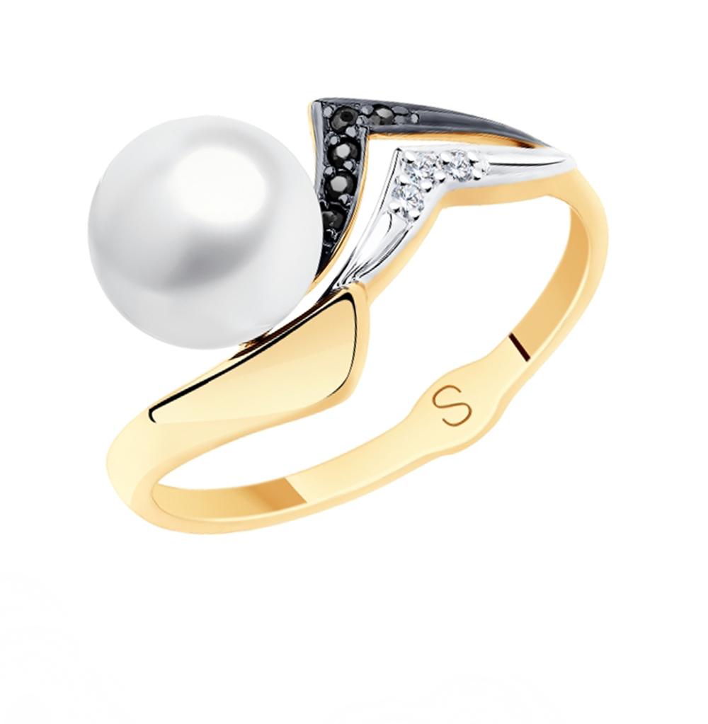 Фото «Золотое кольцо с фианитами и жемчугом SOKOLOV 791145»