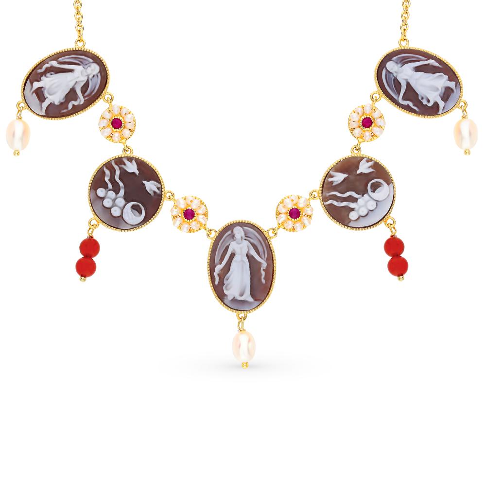 Фото «Серебряное шейное украшение с сердоликом, рубинами, агатом и жемчугом»