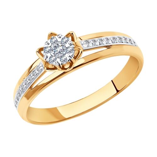 Фото «Золотое кольцо с бриллиантами SOKOLOV 1011280»