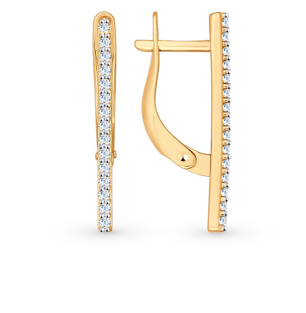 Золотые серьги с фианитами SOKOLOV 027097* в Екатеринбурге
