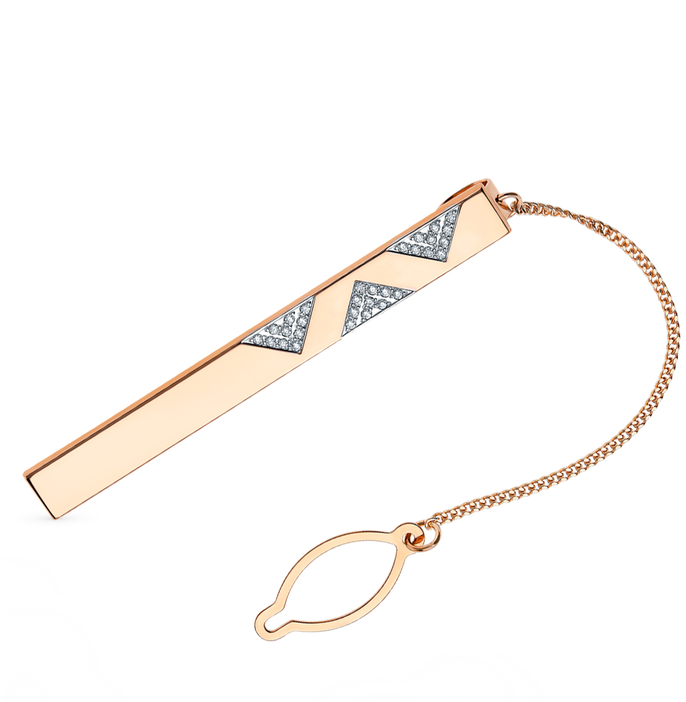 золотой зажим для галстука с фианитами SOKOLOV 090044*