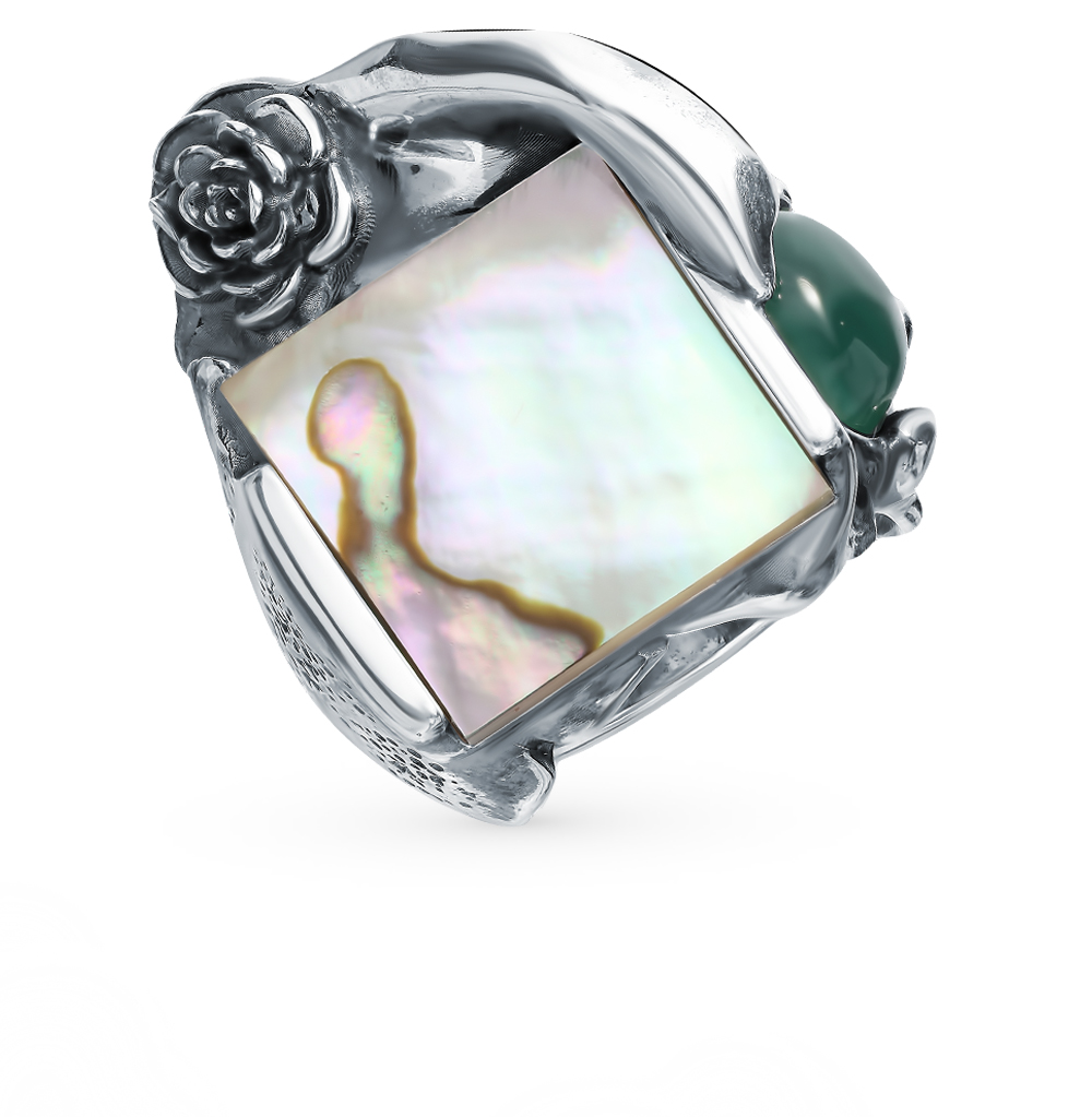 Фото «Серебряное кольцо с агатом и перламутром»
