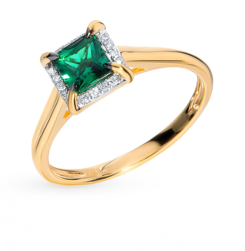 Золотое кольцо с бриллиантами и изумрудом в Санкт-Петербурге