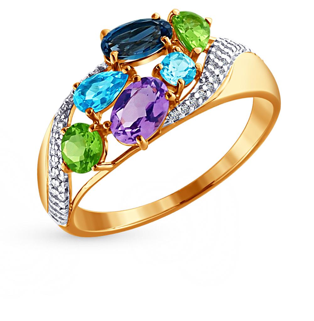 золотое кольцо с аметистом, топазами и фианитами SOKOLOV 713699*