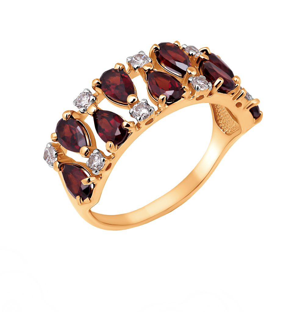 Фото «Золотое кольцо с фианитами и гранатом»