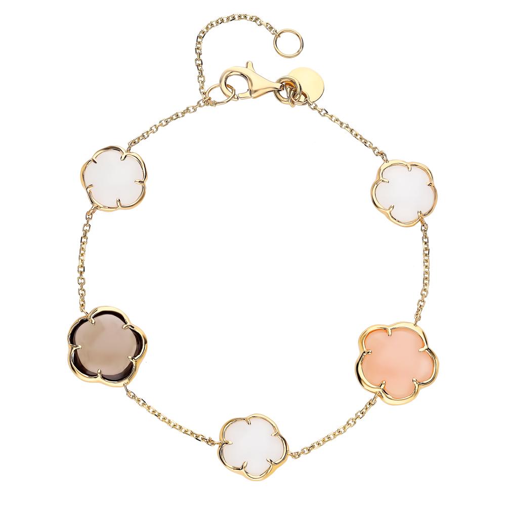 золотой браслет с раухтопазами, кварцем и лунными камнями