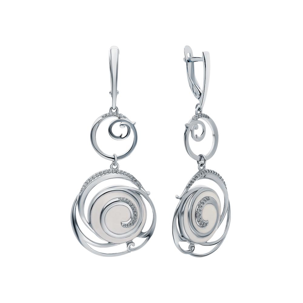 Фото «Серебряные серьги с эмалью и кубическим цирконием»