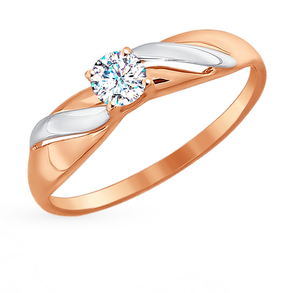 золотое кольцо с фианитами SOKOLOV 81010249*
