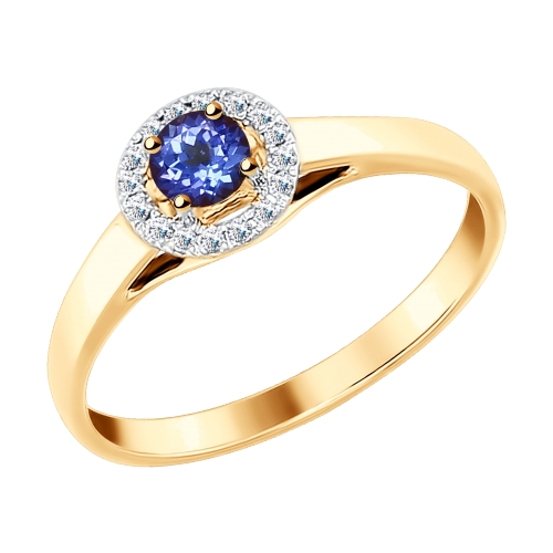 Фото «Золотое кольцо с танзанитом и бриллиантами SOKOLOV 6014097»