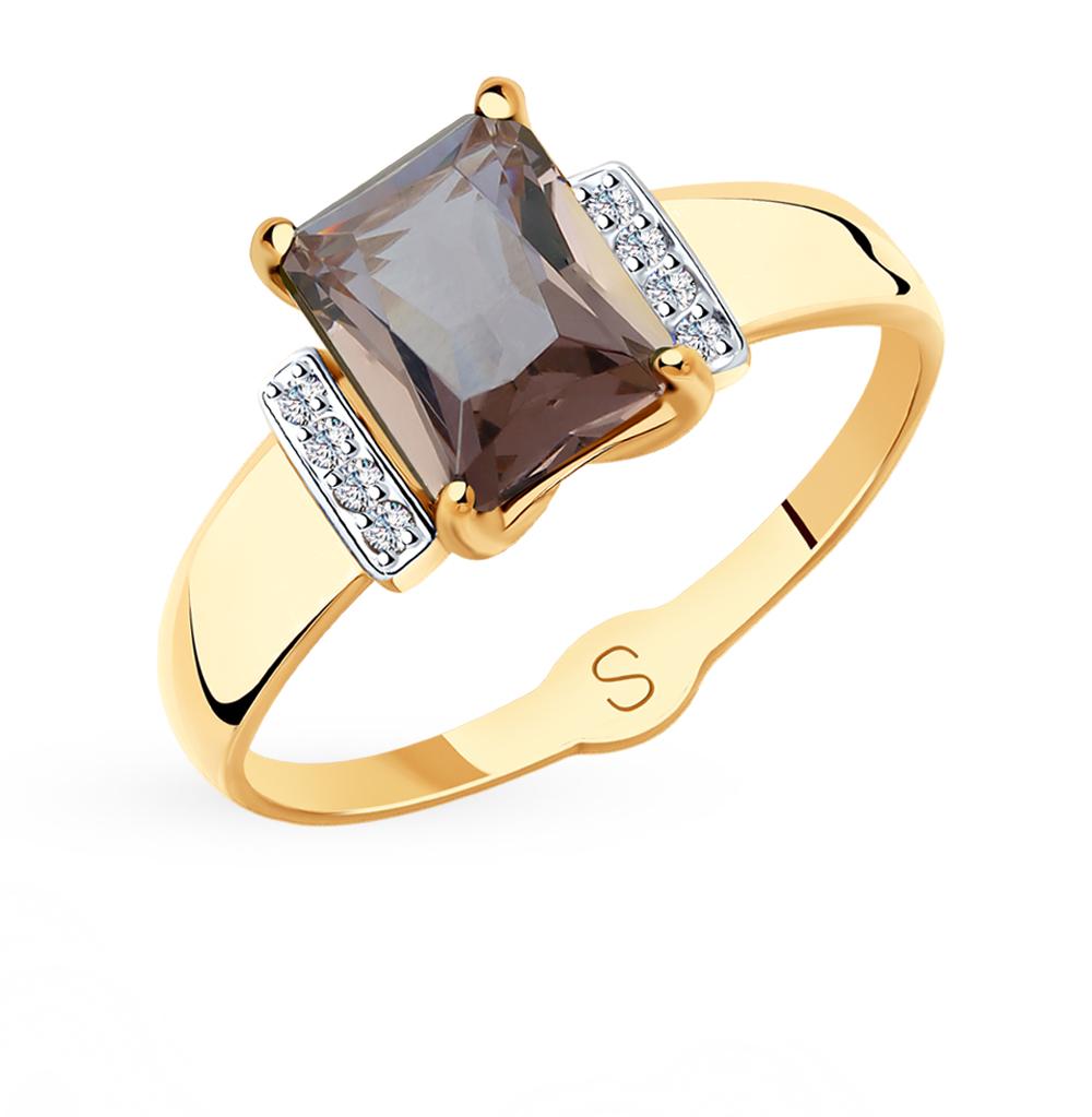 Золотое кольцо с фианитами и ситаллами SOKOLOV 715416* в Екатеринбурге