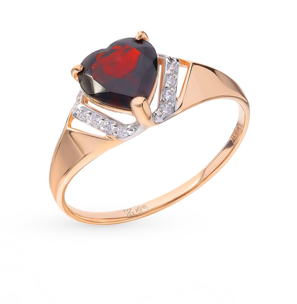 золотое кольцо с фианитами и гранатом SOKOLOV 715016*