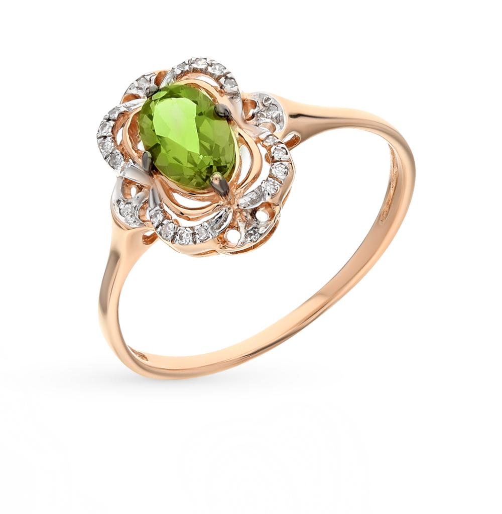Фото «золото кольцо с султанитами синтетическими и бриллиантами»