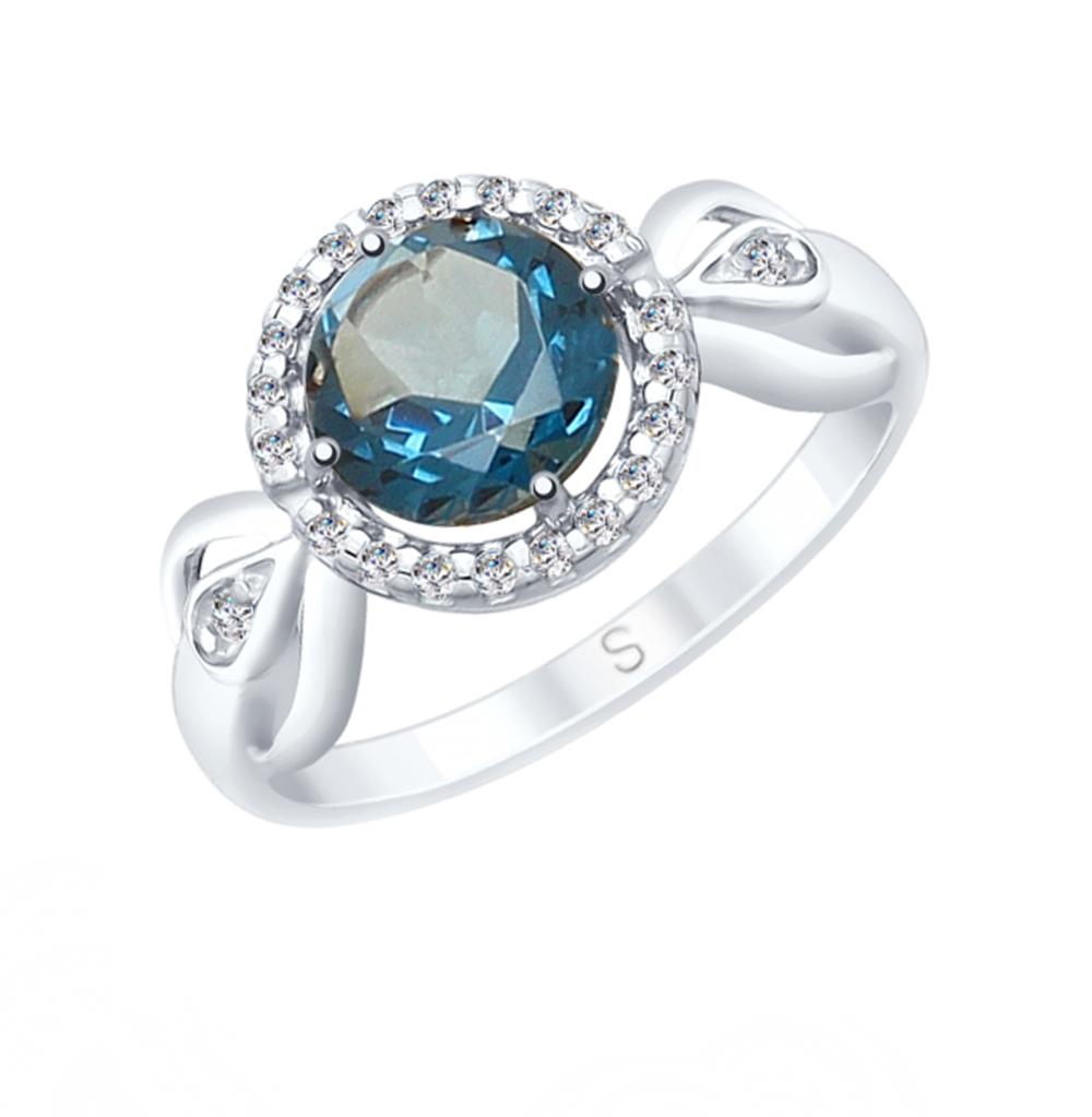 Фото «Серебряное кольцо с топазами и фианитами SOKOLOV 92011674»