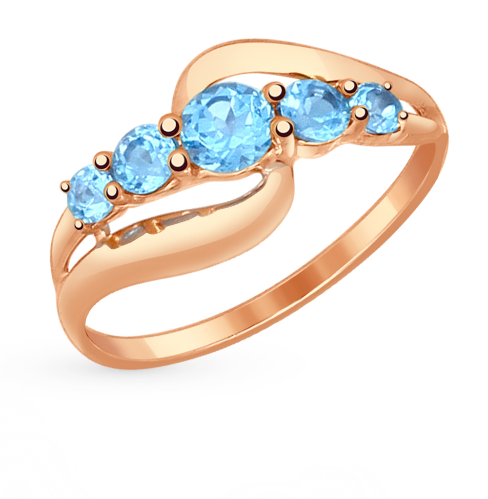 золотое кольцо с топазами SOKOLOV 714535*