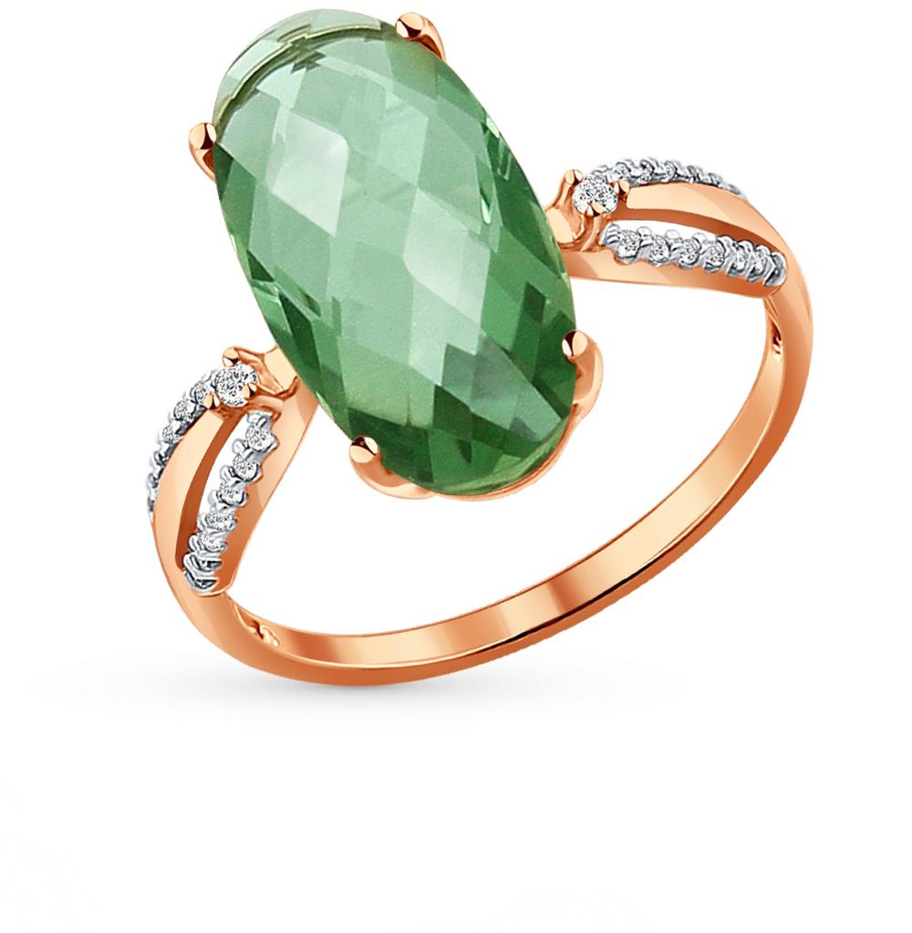 золотое кольцо с кварцем и фианитами SOKOLOV 714039*