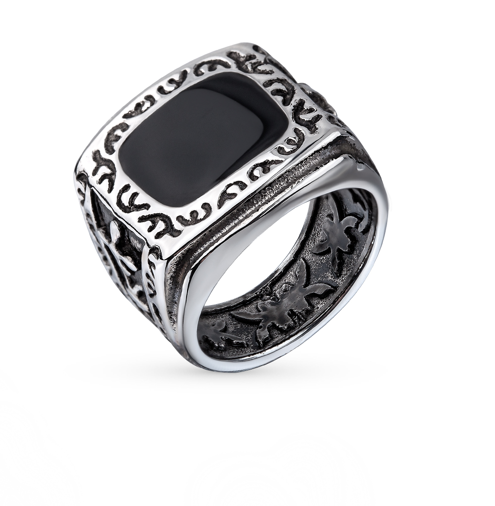 Фото «кольцо из стали с ониксом»