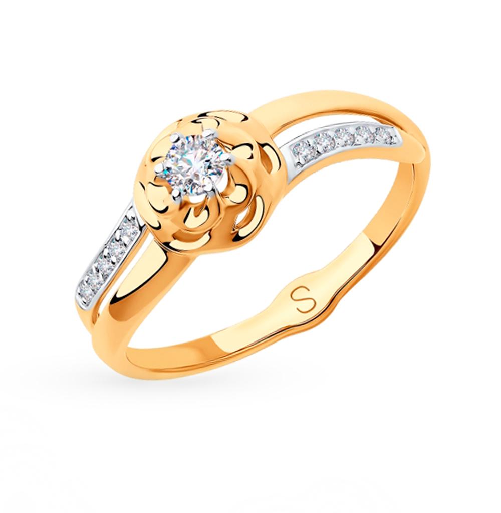 золотое кольцо с фианитами SOKOLOV 018255