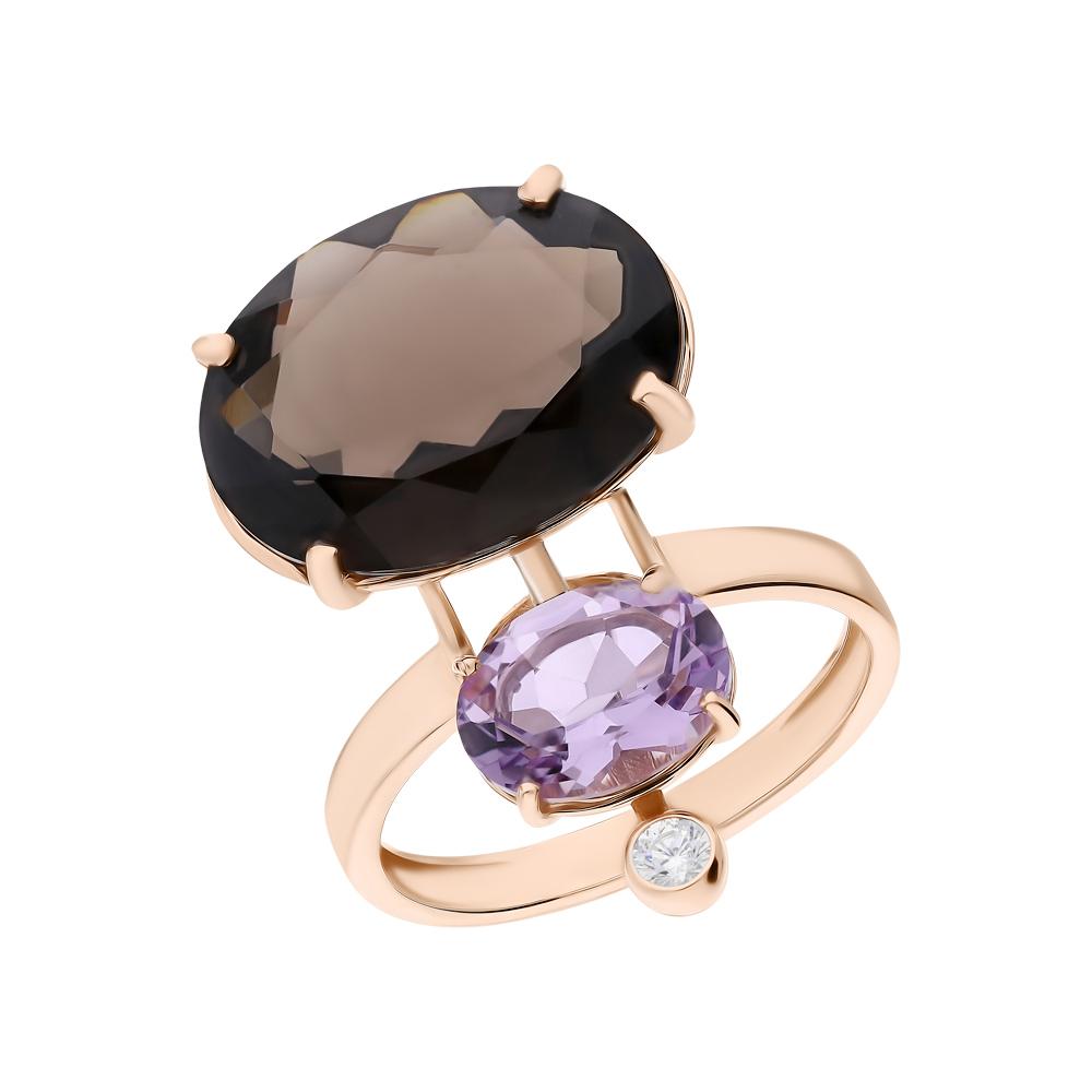 Фото «Золотое кольцо с аметистом, кварцем и фианитами»