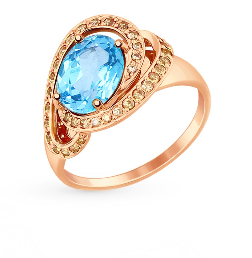 Золотое кольцо с топазами и фианитами SOKOLOV 714836* в Екатеринбурге