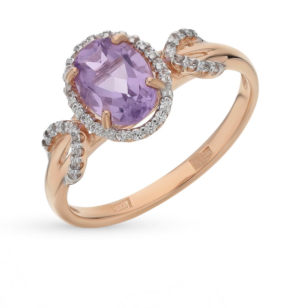 золотое кольцо с аметистом и фианитами SOKOLOV 713805*