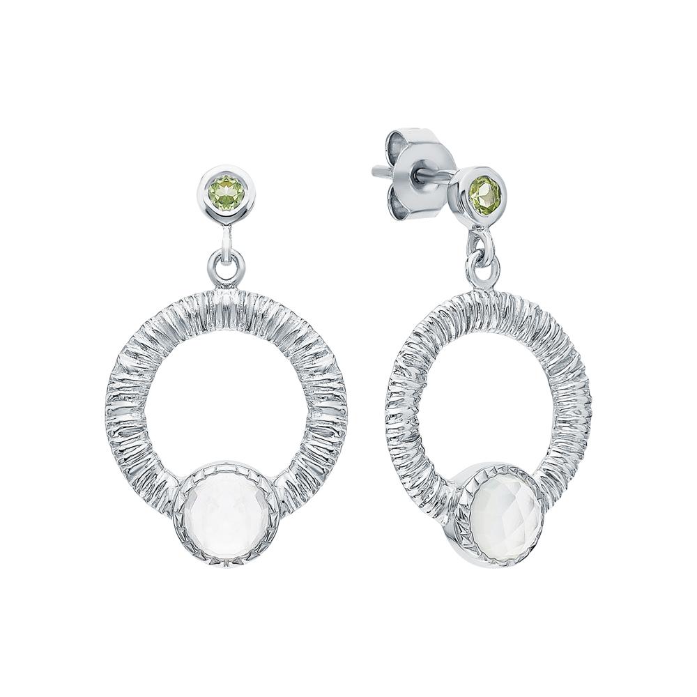 Фото «Серебряные серьги с хризолитом и лунными камнями»