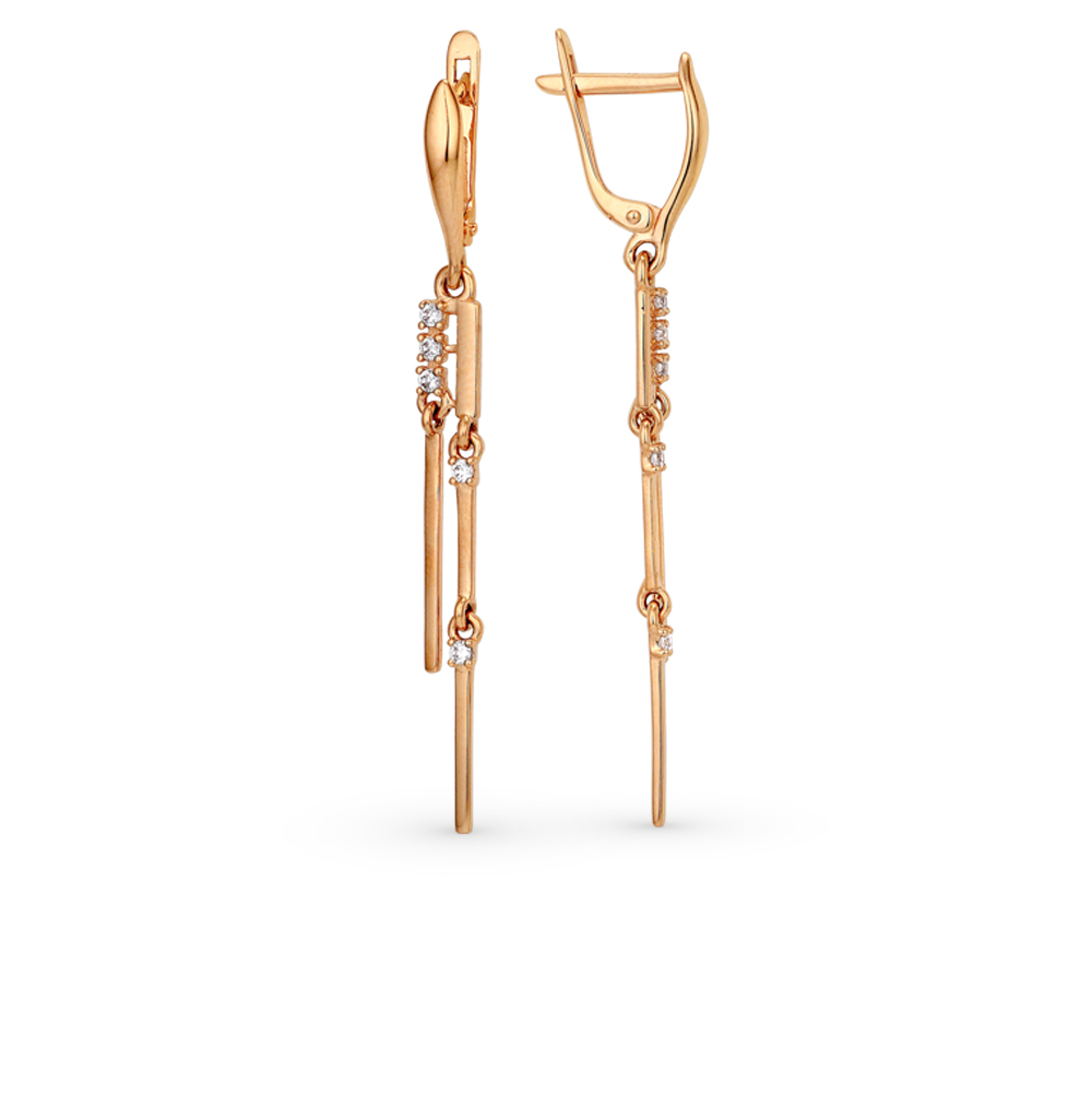 Золотые серьги с фианитами в Екатеринбурге